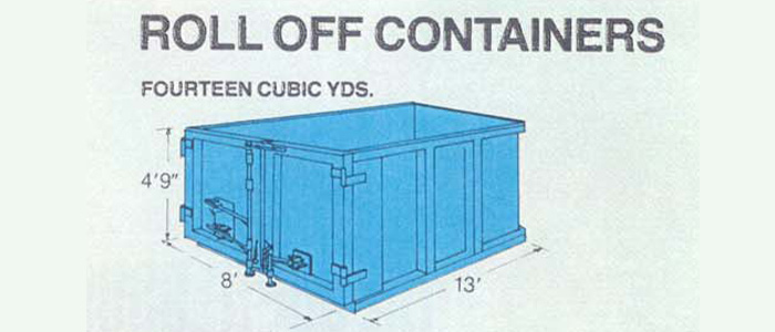 Roll off container fourteen cubic yards, container diagram, blue container with measurements around the outside, height four foot nine inches, width 8 foot, length thirteen foot