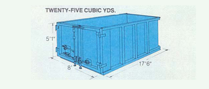 Roll off container, 25 cubic yards diagram. Blue container with measurements around the outside, height 5 foot one inch, width 8 foot, length 17 foot six inch