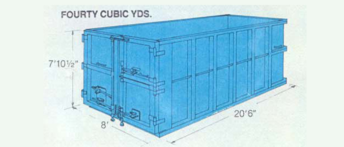 Roll off container forty cubic yards, container diagram, blue container with measurements around the outside, height seven foot ten and one half inches, width eight foot, length twenty foot six inches.